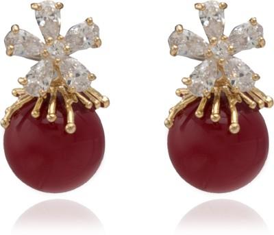 Tara Lifestyle Red Pearl Crystal Alloy Stud Earring
