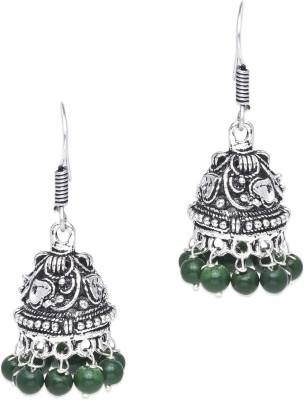 Supriya Green Pearls & White Metal Jhumki Earring