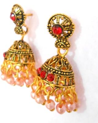 Taj Jewels Oval sparkel Copper Jhumki Earring
