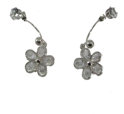 Bandish Silver toned Stud cum floral stone studded Alloy Dangle Earring