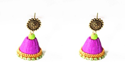 Craftworks violet color jimuka Silk Dori Jhumki Earring