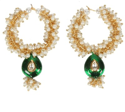 Envy Hoop with lariya green meena Mother of Pearl Hoop Earring