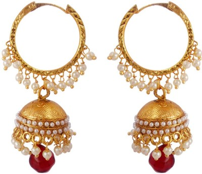 MK Jewellers Contemporary Pearl Polki Earring_Red Copper Jhumki Earring