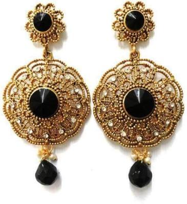 Aarnaa La Trendz Prescious Black Stone Alloy Drop Earring