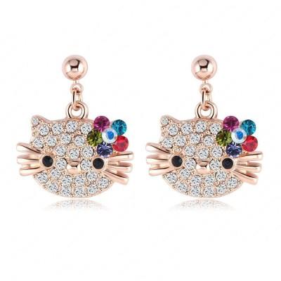 Yiwu Kitty Crystal Alloy Drop Earring