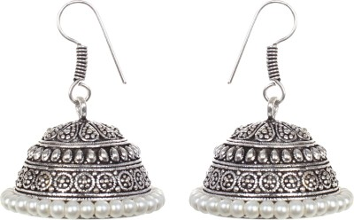 Saadgi White Beads Handcrafted German Silver Jhumki Earring