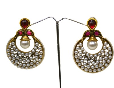 Bejeweled Zircon Copper Chandbali Earring