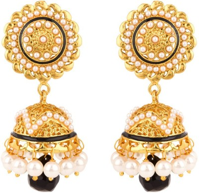 Rajwada Arts Floral Design With Black Stone And Enamel Brass Jhumki Earring