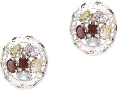 Watch Me Dizzy Daisy Multicolored Studs- Light Amethyst, Peridot, Garnet, Topaz Sterling Silver Stud Earring