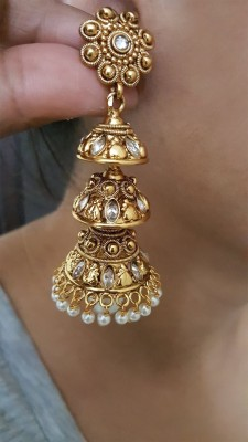 Mehrunnisa Traditional Ethnic Gold Plated Pearl And Zircon Jhumka Copper Drop Earring