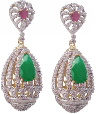 Mrittika Jewels Sparkle Cubic Zirconia Brass Dangle Earring