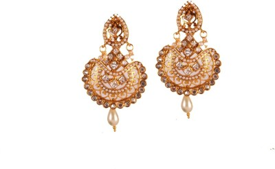 Ratnaraj India Gorgeous Kundan Stone Copper Chandelier Earring
