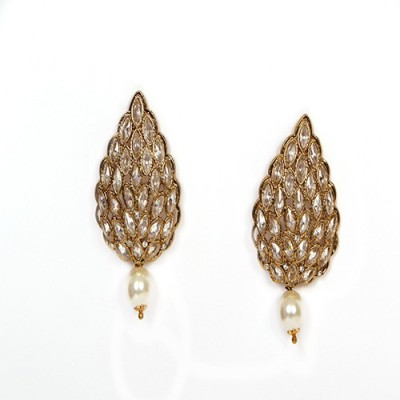 Johara Fashion JF08 Pearl Metal Drop Earring