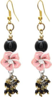 Galz4ever Pink Flower Alloy Drop Earring
