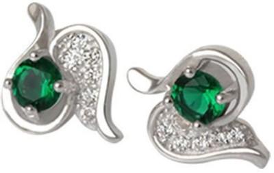 TUAN Uniquely designed Diamond, Cubic Zirconia, Emerald Sterling Silver Stud Earring
