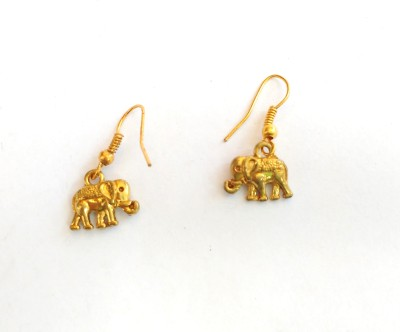 SrinidhiHandiCreations Elephant Brass Dangle Earring