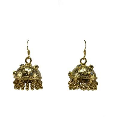 GnJ Golden Cubic Zirconia Sterling Silver Jhumki Earring