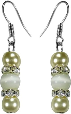 Crystals & Beads White Colour Round Cats Eye & White Pearl Bead with Diamond Spacer Acrylic, Glass, Crystal Dangle Earring