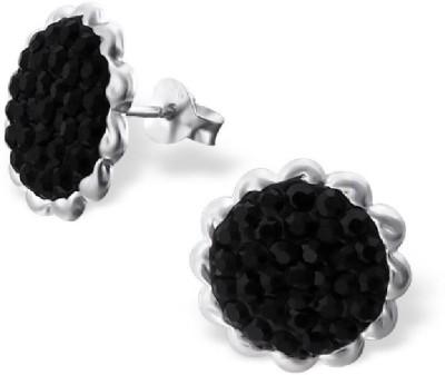 Maayin Sunflower-Black Crystal Silver Stud Earring