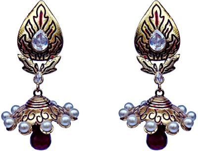 Kundaan Indian Style Crystal Brass, Copper Jhumki Earring