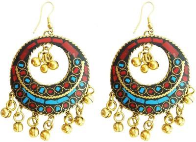 Mehrunnisa Tibetan Ethnic Gold Tone Bali Metal Dangle Earring