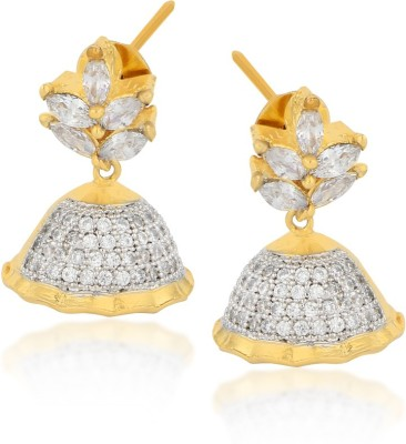 Moda Stella Bell Earrings With Marquees Cubic Zirconia, Zircon Brass Jhumki Earring