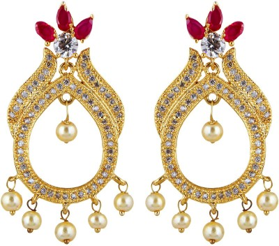 Aadhya Jewels Sparkle Party Wear Gold Plated CZ Silver, Alloy Drop Earring