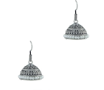 Art Nouveau South Indian Style Traditional Silver with Antique Brass Jhumki Earring