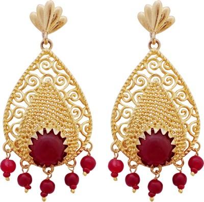 Gems N Pearls Filigree Earrings Brass Chandelier Earring