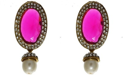 Being Snazzy Hot Pink Pearl Alloy Earring Set