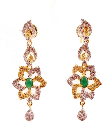 Ojas Jewels Gracious Green Zircon Alloy Plug Earring