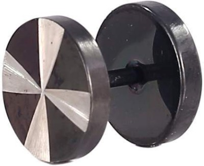 Little Goa B&W Round Fan Metal Stud Body Piercing - 10 mm Metal Plug Earring
