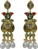 Luxor Green & Maroon dangler earrings Pearl Brass Drop Earring