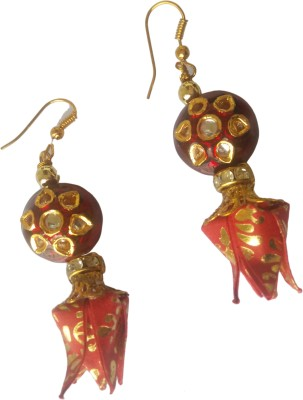 Origami Noshi Red Kundan Tulips Paper Dangle Earring