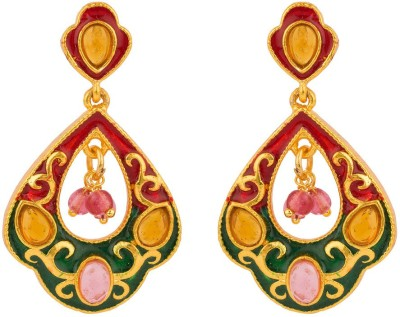 Rajwada Arts Red And Green Enamel Brass Drop Earring