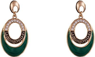 R18Jewels-Fashion&U Dazzling Green & Gold Metal, Enamel Dangle Earring