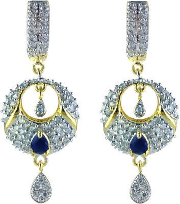 YUVEN Blue-Color With AD Zircon Brass, Alloy Drop Earring