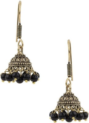 Gemshop Pair Of Oxidized Gold Plating With Black Beads Alloy Jhumki Earring