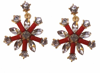 Modish Look Beautiful Red Sparkling Alloy Drop Earring