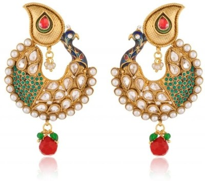 Rooh Jewellery Peacock Pride Kundan Copper Dangle Earring