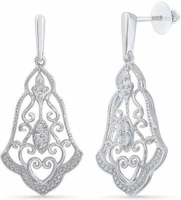 VelvetCase Classy Chandelier Diamond Drop Earrings Silver Stud Earring