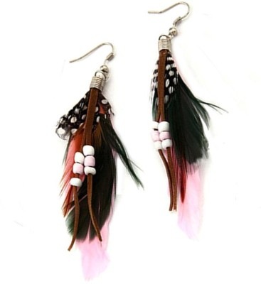 Jewel Touch Fine Feather Decorated With Bead Charm Alloy, Fabric Dangle Earring