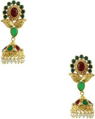 Orniza Rajwadi Earrings in Ruby & Emerald Color and Golden Polish Brass Dangle Earring