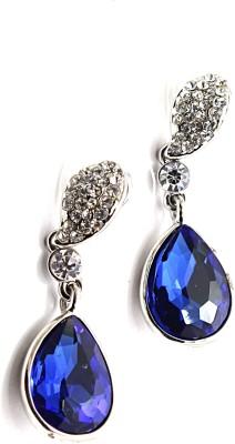Zidox Blue Crystal Silver Alloy Drop Earring