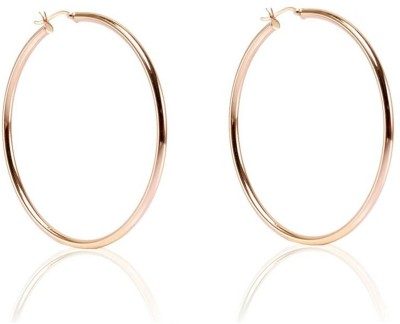 LeCalla Large Rose Gold Basic Classy Sterling Silver Hoop Earring