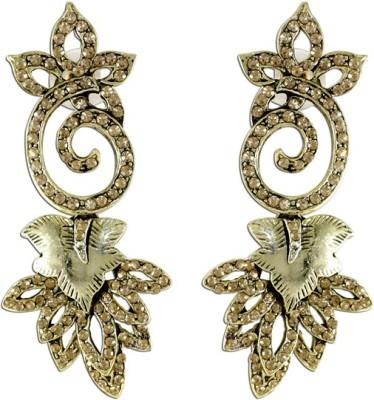 The Fine World Silver Studded Zircon Metal Drop Earring