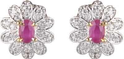 SAADGI Beautiful American Diamond Cubic Zirconia, White Zircon, Zircon Brass Stud Earring