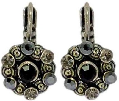 Sanaa Creations Antique Pair of oxidized with Dual color stone Alloy Hoop Earring