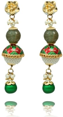 Siyora Siyora ruby and emerald rhinestones chandeliers Cubic Zirconia Brass Drop Earring