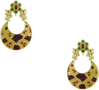 Orniza Victorian Earrings in Red & Green Color and Matt Gold Polish Brass Dangle Earring